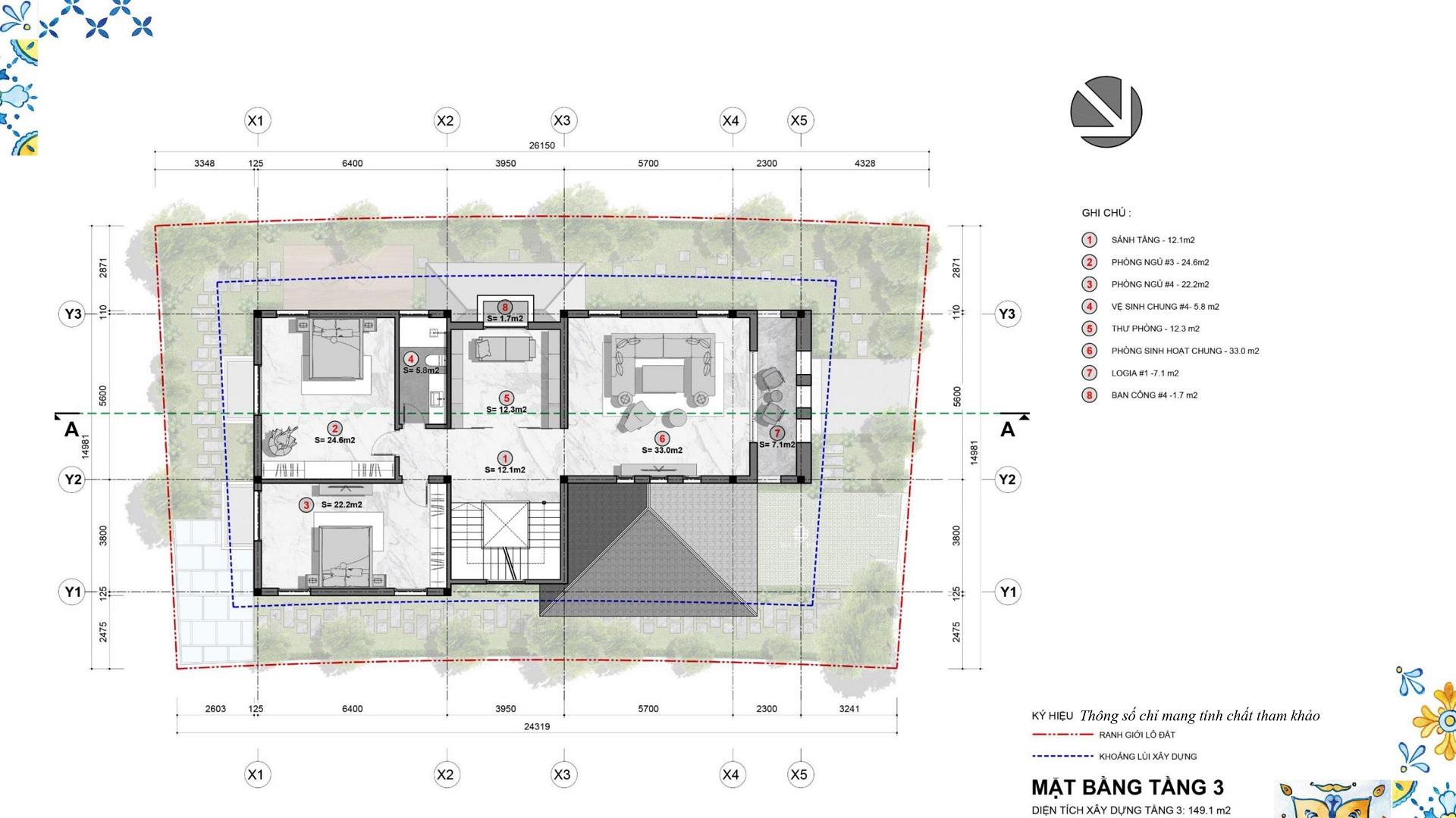 mặt bằng biệt thự đơn lập tầng 3